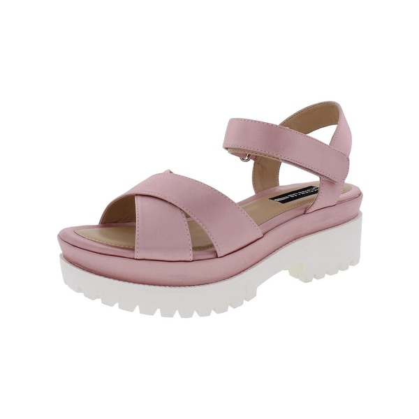 Design Lab Womens Faima Platform Sandals Satin Casual