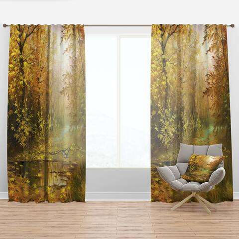 Designart 'Pathway in Beautiful Autumn Forest' Landscapes Curtain Panel