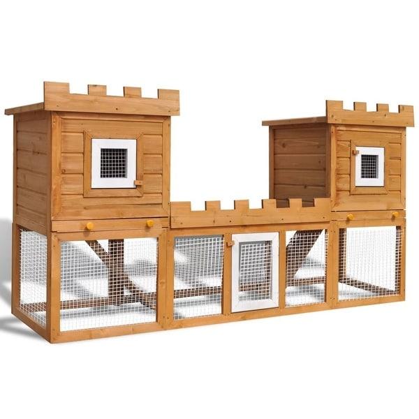 Vidaxl Outdoor Large Rabbit Hutch House Pet Cage Double