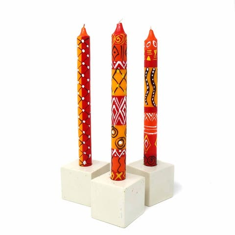 Handmade Taper Dinner Candles Zahabu Design Set of 3 (South Africa)