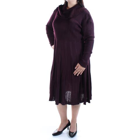 CALVIN KLEIN Womens Burgundy Long Sleeve Cowl Neck Midi Fit + Flare Dress Plus Size: 1X