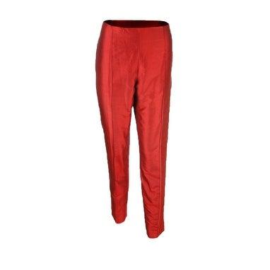 Sutton Studio Women's Taffeta Stitched Crease Slim Ankle Pants - Red