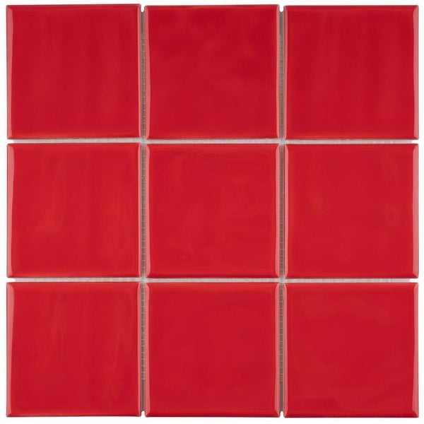"""SomerTile Twist Square Red Cherry 11.75"""" x 11.75"""" Ceramic Mosaic. Opens flyout."""