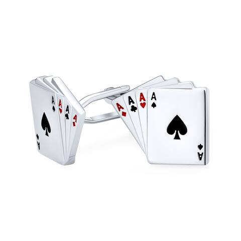 4 Of a Kind Aces Playing Cards Poker Player Cufflinks Shirt Steel
