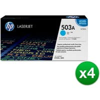 HP 503A Cyan Contract LaserJet Toner Cartridge (Q7581A)(4-Pack)