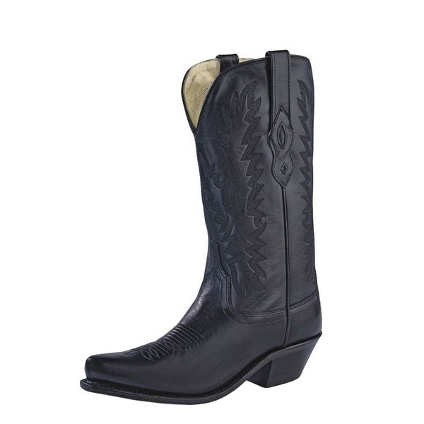 Old West Cowboy Boots Womens Snip Toe Lined Goodyear Black