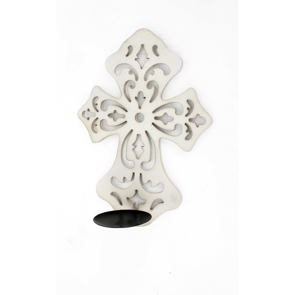 Traditional Wooden Cross Candle Holder Sconce