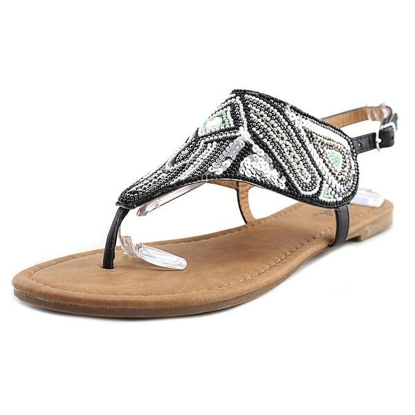 Qupid Jamilla Women Open-Toe Canvas Black Slingback Sandal