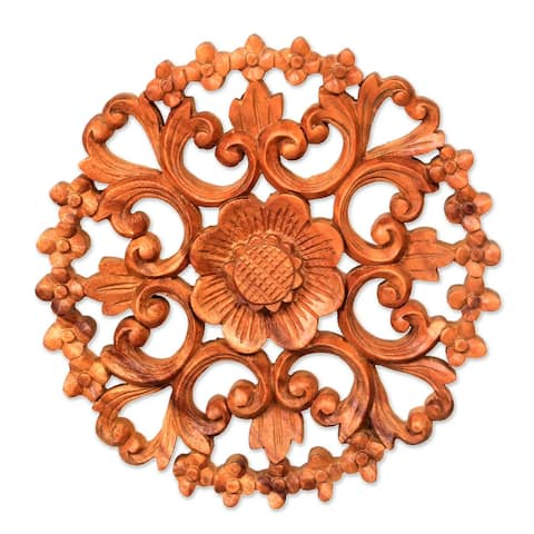 "Handmade Halo Of Flowers Wood Relief Panel (Indonesia) - 1"" H x 9.5"" Diam."
