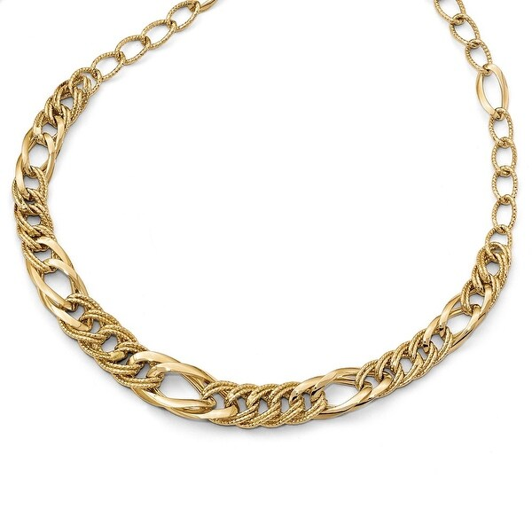 Italian 14k Gold Polished and Textured Fancy Link Necklace - 18 inches