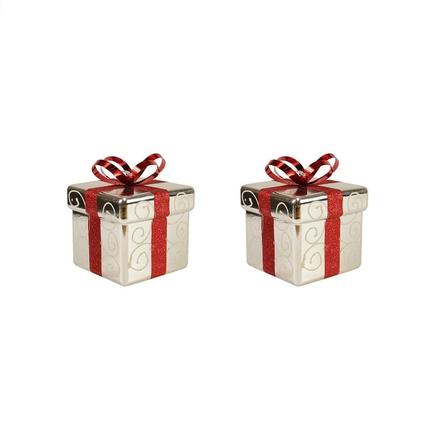 Pack of 2 Silver and Red Gift Box Shatterproof Christmas Ornaments 6""