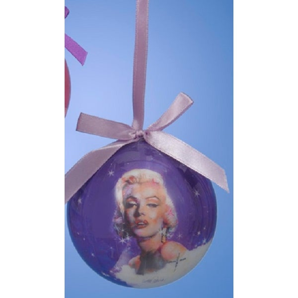 "3.25"" Purple Decoupage Marilyn Monroe Brightest Star Christmas Ball Ornament - PInk"