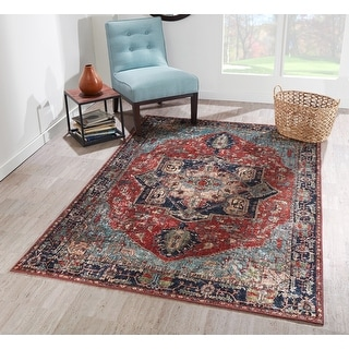 Porch & Den Lockheart Distressed Red/ Navy Medallion Polyester Area Rug