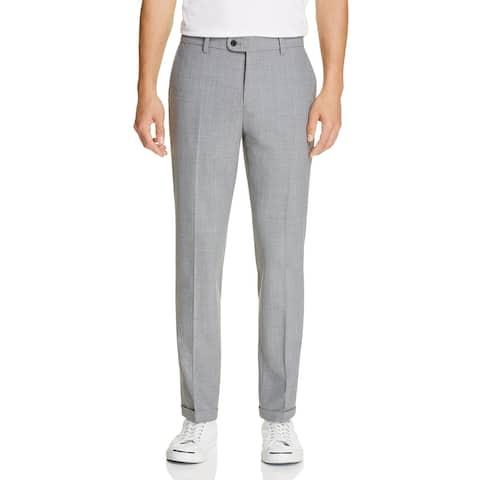 NN07 Mens Big & Tall Soho Dress Pants Wool Blend Pattern - Grey - 52L