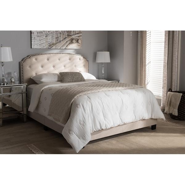 Lexi Light Beige Fabric Upholstered Box Spring Bed Full
