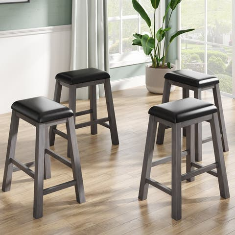 AOOLIVE 4PCS Counter Height Dining Stools, Grey Finish, Black Cushion