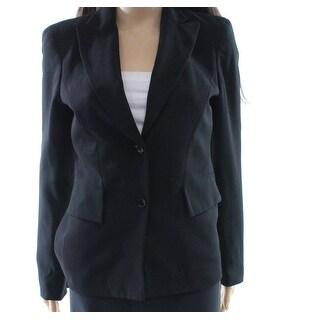 Calvin Klein NEW Deep Black Women's Size 2 Two Button Blazer Wool