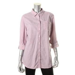 Tommy Hilfiger Womens Button-Down Top Cotton Striped - m