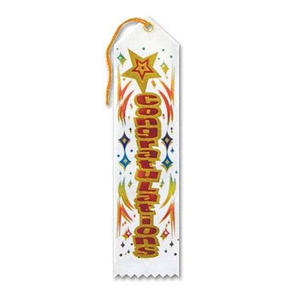 "Pack of 6 White "" Congratulations Award"" School Award Ribbon Bookmarks 8"""