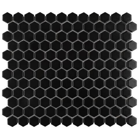 "SomerTile Metro Hex Matte Black 10.25"" x 11.75"" Porcelain Mosaic Tile"