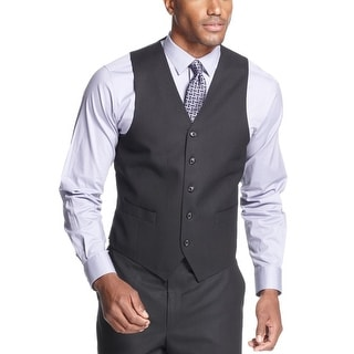 Sean John Black Tonal Stripe Vest Classic Fit - Suit Separates