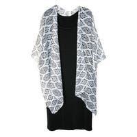 CTM® Women's Lightweight Damask Diamond Print Open Style Kimono Shawl - One size