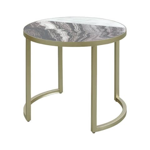 Washbrook Way - 19.5 Inch Accent Table Black Marble/White Marble/Antique Silver/White