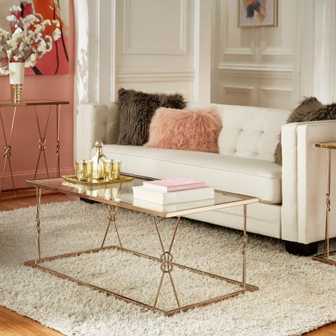 Sandiacre Champagne Gold Reef Knot Frame and Glass Coffee Table by iNSPIRE Q Bold