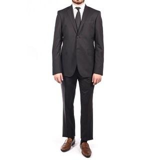 Pierre Balmain Wool Two Button Suit Charcoal Black