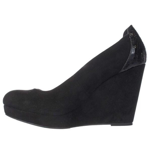 Thalia Sodi Womens Miaa Closed Toe Wedge Pumps, Black SNAKE, Size 8.5