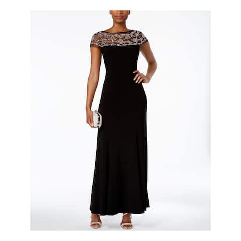 R&M RICHARDS Black Cap Sleeve Full-Length Fit + Flare Dress Size 6