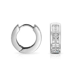 Bling Jewelry Sterling Silver Invisible Cut CZ Small Hoop Earrings Unisex
