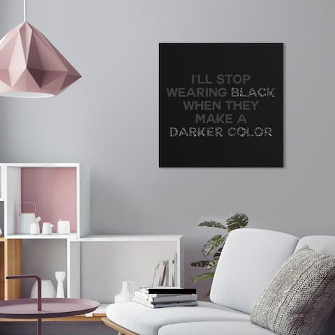 Oliver Gal 'Wear Black' Typography and Quotes Wall Art Canvas Print Fashion Quotes and Sayings - Black, Gray