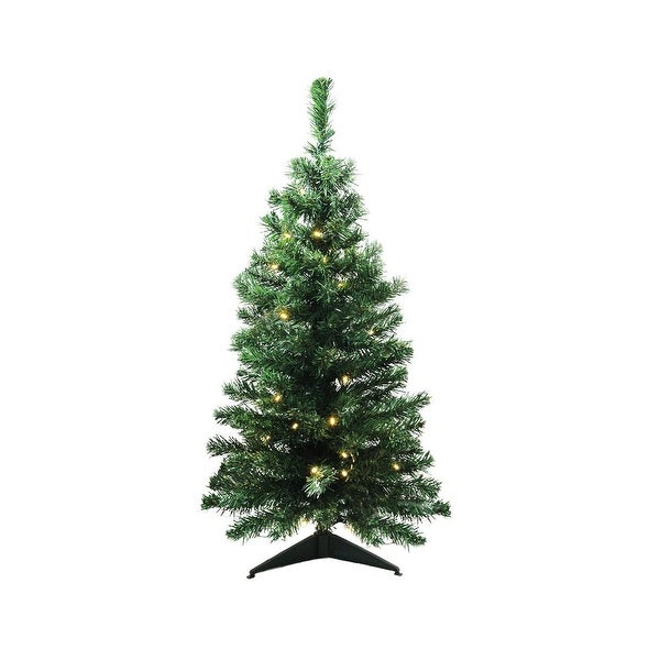 "3' x 18"" Pre-Lit Mixed Classic Pine Medium Artificial Christmas Tree - Warm Clear LED Lights - green"