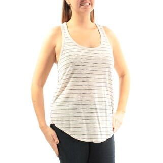 LUCKY BRAND $39 Womens New 3821 Ivory Striped Scoop Neck Sleeveless Top L B+B