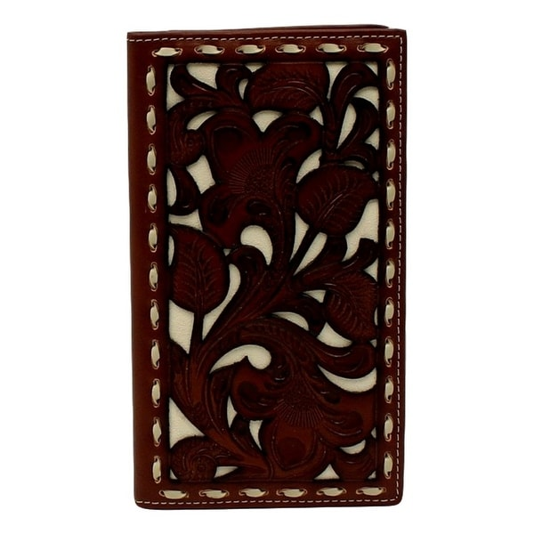 Nocona Western Wallet Men Overlay Rodeo Pierced Checkbook Tan - 3 3/4 x 6 3/4