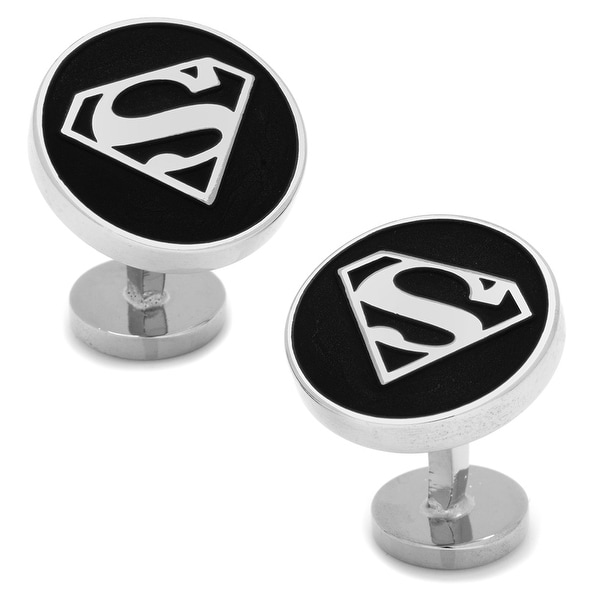 Round Black Superman Shield Cufflinks