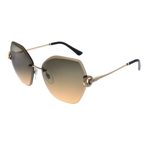 Bvlgari BV 6105B 201418 Womens Rose Gold Frame Brown Gradient Lens Sunglasses