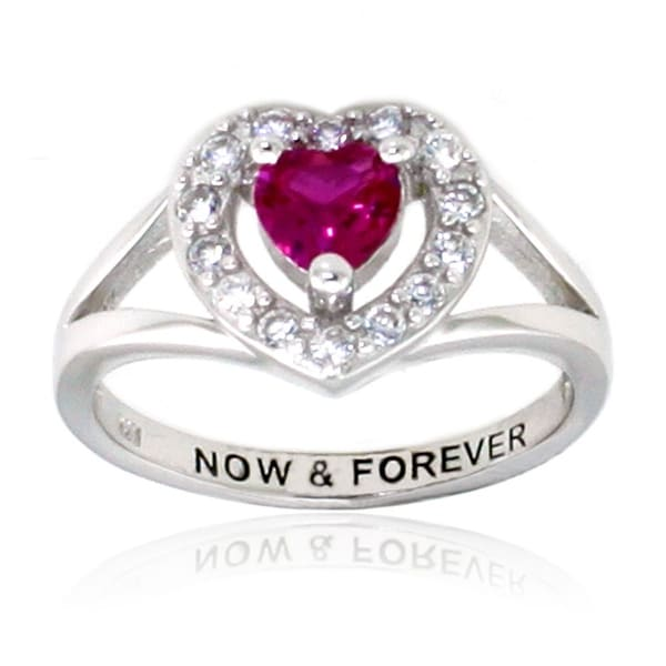 Sterling Silver Ruby Color and Clear CZ Heart Ring