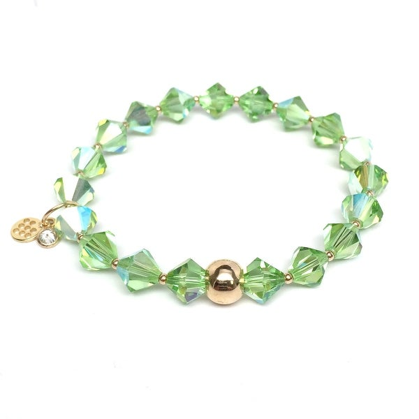 "August Birthstone Color Light Green Crystal Rachel 7"" Bracelet"
