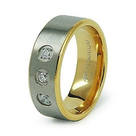 8mm Gold Plated Titanium Ring with CZ (Sizes 6-12)
