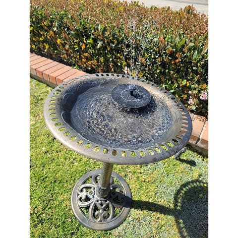 "Outdoor Garden Bird Bath Fleur de lis Decoration Accents Antique 28"" With Solar Birdbath Fountain Pump"