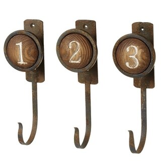 "Set of 3 Brown Distressed Assorted Round Numbers ""1 2 3"" Metal Wall Hook 8"""