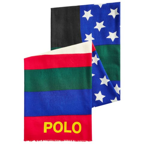 Polo Ralph Lauren Scarf Red Wool Downhill Skier Colorblocked Logo