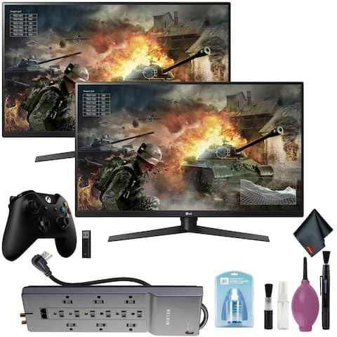 "LG 31.5"" 16:9 144 Hz Monitor x2 - Xbox Wireless Controller + Adapter"