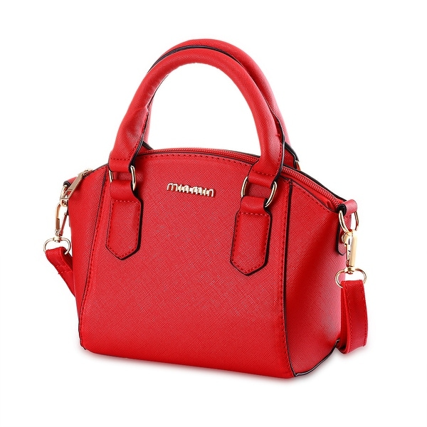 Faux Red Leather Classic Satchel
