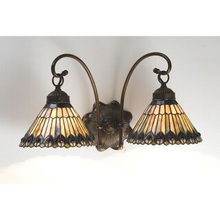 """Meyda Tiffany 18526 Jeweled Peacock 18"""" Wide 2 Light Double Sconce with Art Glass Shades"""