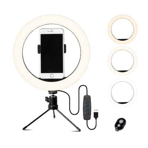 """10"""" Selfie Ring Light with Stand - iPhone Stand with Light - Tripod for iPhone - Phone Holder"""