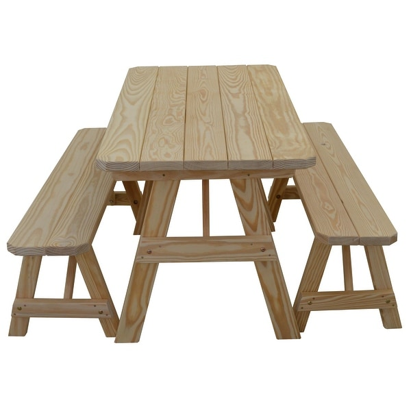 Pine 5' Traditional Picnic Table with 2 Benches. Opens flyout.