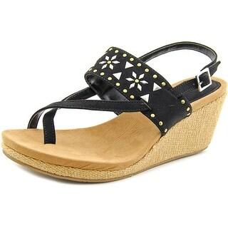 Style & Co Jazzmin Women Open Toe Suede Black Wedge Sandal
